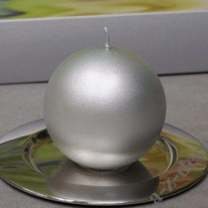 SREBRNA Świeca kula velvet 10cm