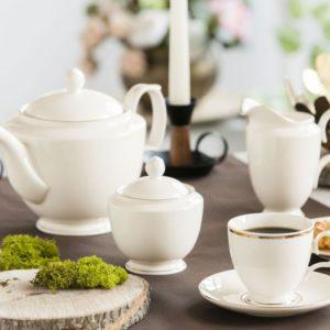 Zestaw kawowy porcelana MariaPaula Ecru Złota Linia 12OS/39EL