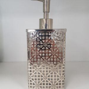 Dozownik na mydło szkło metal srebrny