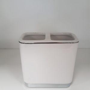 Pojemnik ceramiczny dwukomorowy biały