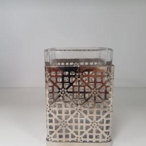 Pojemnik szkło-metal srebrny łazienka