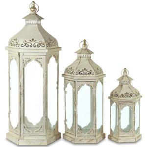 ART-POL Lampion metalowy biały duży-113694