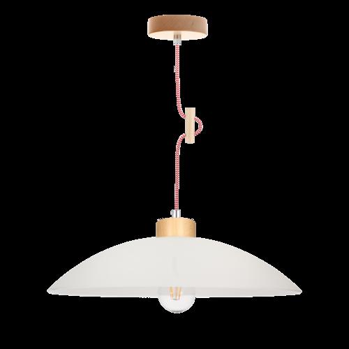 Lampa wisząca Jona biała/dąb naturalny/czerwony