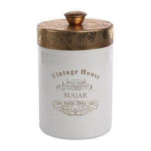 Puszka okrągła ze złotą pokrywką sugar