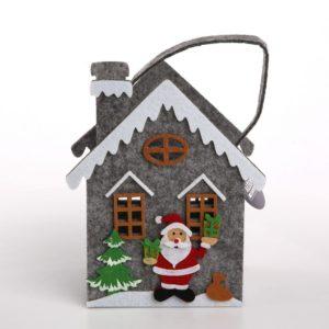 Torebka na prezent filcowa Święta Boże Narodzenie Domek z Mikołajem szara 18x22 cm