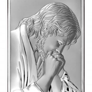Obrazek srebrny Jezus Chrystus Modlący