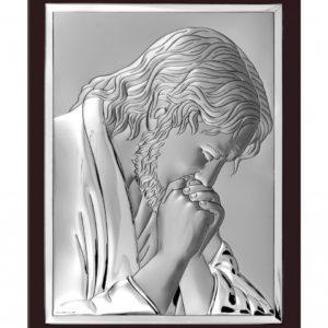 Obrazek srebrny Jezus Chrystus Modlący BRĄZOWY