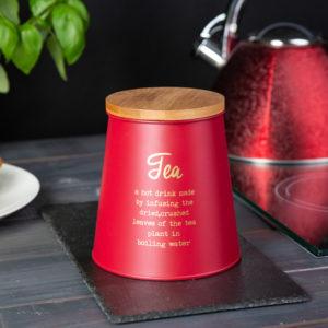CZERWONA METALOWA PUSZKA Z POKRYWKĄ BAMBUSOWĄ TEA