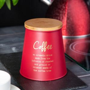 CZERWONA METALOWA PUSZKA Z POKRYWKĄ BAMBUSOWĄ COFFEE