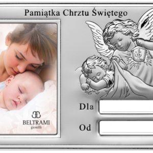 Ramka srebrna na zdjęcie 6×9 Pamiątka Chrztu Świętego