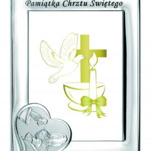 Ramka srebrna Pamiątka Chrztu Świętego