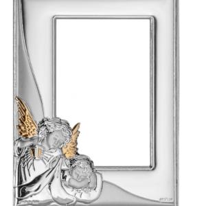 Ramka srebrna Aniołek z latarenką nad dzieciątkiem