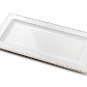 BLANCHE COLOURS Podstawka 36x18x2cm     biała+złota obwódka art. dekoracyjny