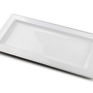 BLANCHE COLOURS Podstawka 36x18x2cm     biała+srebrna obwódka art. dekoracyjny