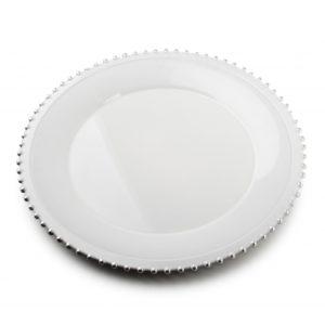 BLANCHE COLOURS Podtalerz 33x33x2cm biało-srebrny art. dekoracyjny